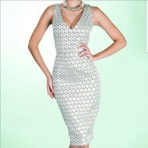Tatyana Gun Barrel Pencil Dress Silver Wiggle 3X